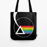 dark side of the moon Tote Bags featuring Dark Side of the Moon by Maira Artwork