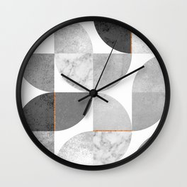 Marble Gray Copper Black and white circles Wall Clock