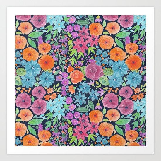 Floral watercolor pattern Art Print