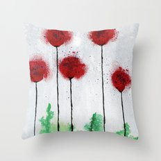 Red Wildflowers Throw Pillow