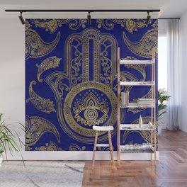 Hamsa Hand  - gold on lapis lazuli Wall Mural