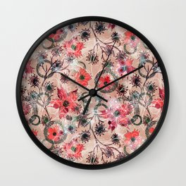 Floral abstract.  2 Wall Clock