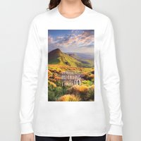 the mountains are calling Long Sleeve T-shirts featuring Mountains Are Calling Travel Adventure by Rainbow Rules
