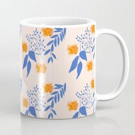 Floral Pattern Indigo Orange Blue Coffee Mug