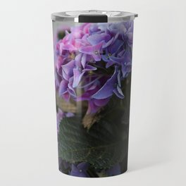 Big Hortensia flowers in front of a window Travel Mug