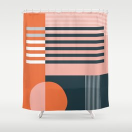 untitled 4 - red, pink, black & white shapes Shower Curtain