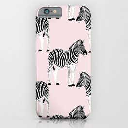 Cute Black & White Zebra Animal Pink Design iPhone Case