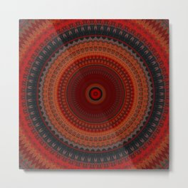 Sunset Orange  Mandala Metal Print