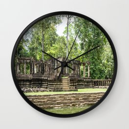 Pool & Structure of Baphuon Temple II, Angkor Thom, Siem Reap, Cambodia Wall Clock
