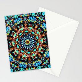 Sparkling turquise orange mandala Stationery Cards