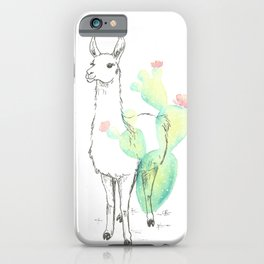 Llama cactus ink and watercolor iPhone Case