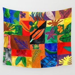 Colourful Plant Collage Wall Tapestry
