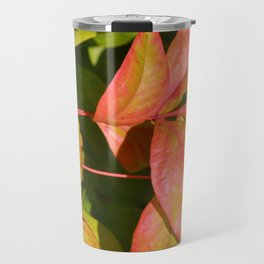 Summery Pink and Green Leaves Travel Mug