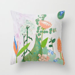 Multi Floral Painting on Pink and White Background Throw Pillow