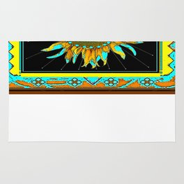 Southwest Style Black-Turquoise Sunflower Pattern Art Rug