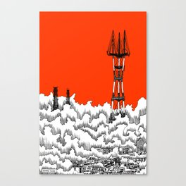 San Francisco - Sutro Tower (red sky) Canvas Print