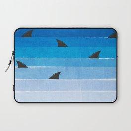 Sharks - shark week trendy black and white minimal kids pattern print ombre blue ocean surfing  Laptop Sleeve