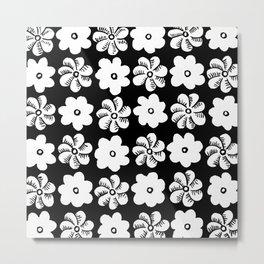 Floral design Black & White Flowers print Metal Print