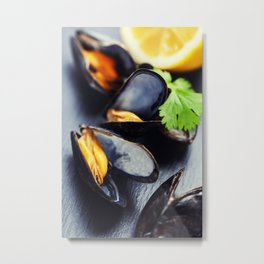 group of boiled mussels in shells Metal Print