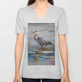Heron wading Unisex V-Neck