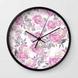 Elegant pink gray watercolor botanical roses flowers Wall Clock