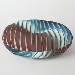 Stripey Pins Teal & Taupe - Fractal Art Floor Pillow