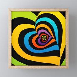 Valentine hearts twirling in rainbow colors Framed Mini Art Print