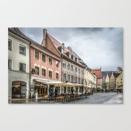 Fussen. Alpine town street view Canvas Print