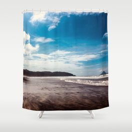 Bronze sand at Ohope Beach Shower Curtain
