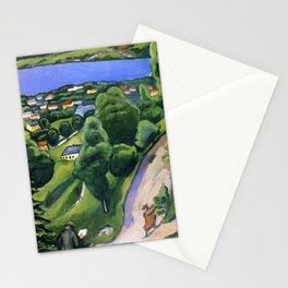 "August Macke ""Landschaft am Teggernsee mit lesendem Mann (Landscape at the Tegernsee)"" Stationery Cards"