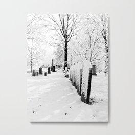 Snow and Gravestones Metal Print