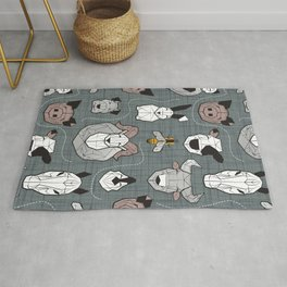 Friendly Geometric Farm Animals // green grey linen texture background black and white brown grey and yellow pigs queen bees lambs cows bulls dogs cats horses chickens and bunnies Rug