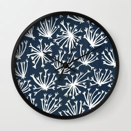 Queen Anne's Lace – White on Navy Wall Clock