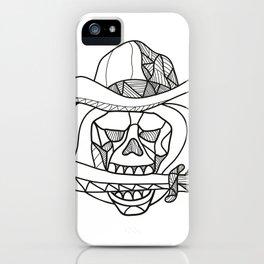 Cowboy Pirate Skull Biting Dagger Mosaic iPhone Case