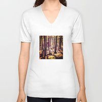 western V-neck T-shirts featuring Western Woods by Ken Seligson