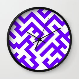 White and Indigo Violet Diagonal Labyrinth Wall Clock