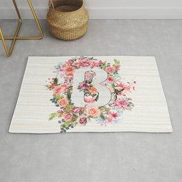 Initial Letter B Watercolor Flower Rug