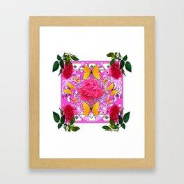 PINK ROSE FLOWERS  &  GOLDEN BUTTERFLIES GARDEN ART Framed Art Print