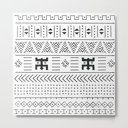 Black and white tribal ethnic pattern with geometric elements, traditional African mud cloth, tribal Metal Print