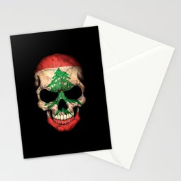 Dark Skull with Flag of Lebanon Stationery Cards