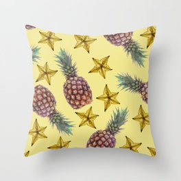 starfruits - Pineapple pattern - yellow background Throw Pillow