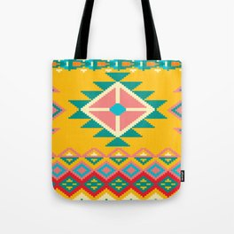 Yellow Native Aztec Tote Bag