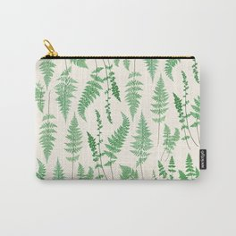 Ferns on Cream I - Botanical Print Carry-All Pouch