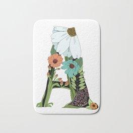Floral Letter A Bath Mat