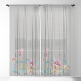 Floral Border - Mute Colours Sheer Curtain