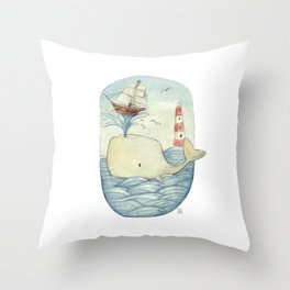 Cute Whale in the Sea Throw Pillow