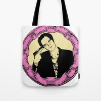 quentin tarantino Tote Bags featuring Tarantino by Guido prussia