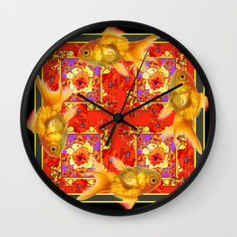 GOLD FISH & RED POPPIES GEOMETRIC BLACK ARTWORK Wall Clock