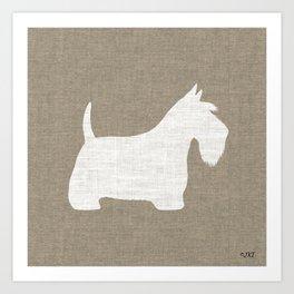 White Scottish Terrier Silhouette Art Print