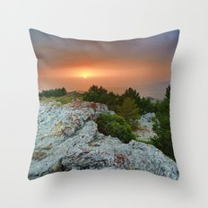 Sunset at the mountains. Under the rain Throw Pillow